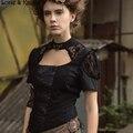 Mulheres Blusa de Manga Curta Gótico vitoriano Steampunk Espartilho de Renda Preta Top SP164BK