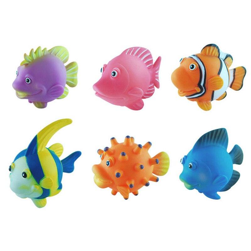 6 шт. брызгает рыбы Для ванной Игрушечные лошадки спрей милый мультфильм детские мягкие Игрушки для ванной Модель морской Животные ...