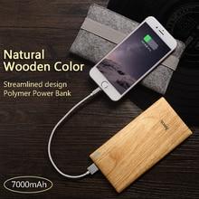 B10 7000mAh ultra thin slim Power Bank Wood Texture single USB LED indicator for iPhone, SAMSUNG, tablet PC, External Battery