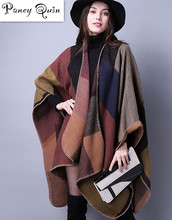 Brand Women shawl Super thick warm winter Plaid Poncho cashmere scarf female Soft Bufandas wool wholesale