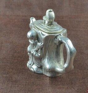 Image 3 - الصين جمع هجر الفاظ الأبيض النحاس إله طول العمر إبريق الشاي الحرف تمثال