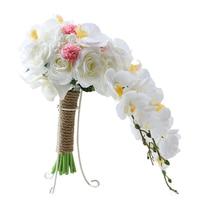 Cascada 46*24 cm Elegante Rosa Ramos De Novia Blanco Nupcial Artificial Mano de retención Estilo Banquete de Boda Decorativa Casera flor