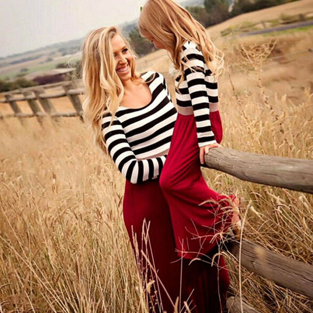 New 2018 Red Long Sleeve Mother Daughter Dresses Family Matching Clothes Striped Mom and Daughter Dress Family Look Outfits