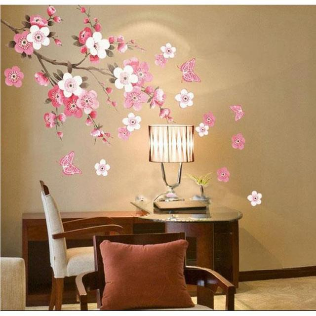 Marvelous Fantastic Removable Pink Cherry Peach Blossom Plum Flower Butterfly Wall  Sticker Home Art Decor DIY Vinyl Wall Decal Decoration