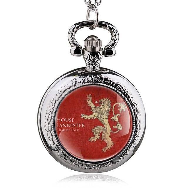 Vintage Bronze Game of Thrones Lannister House Hear Me Roar Quartz Pocket Watch