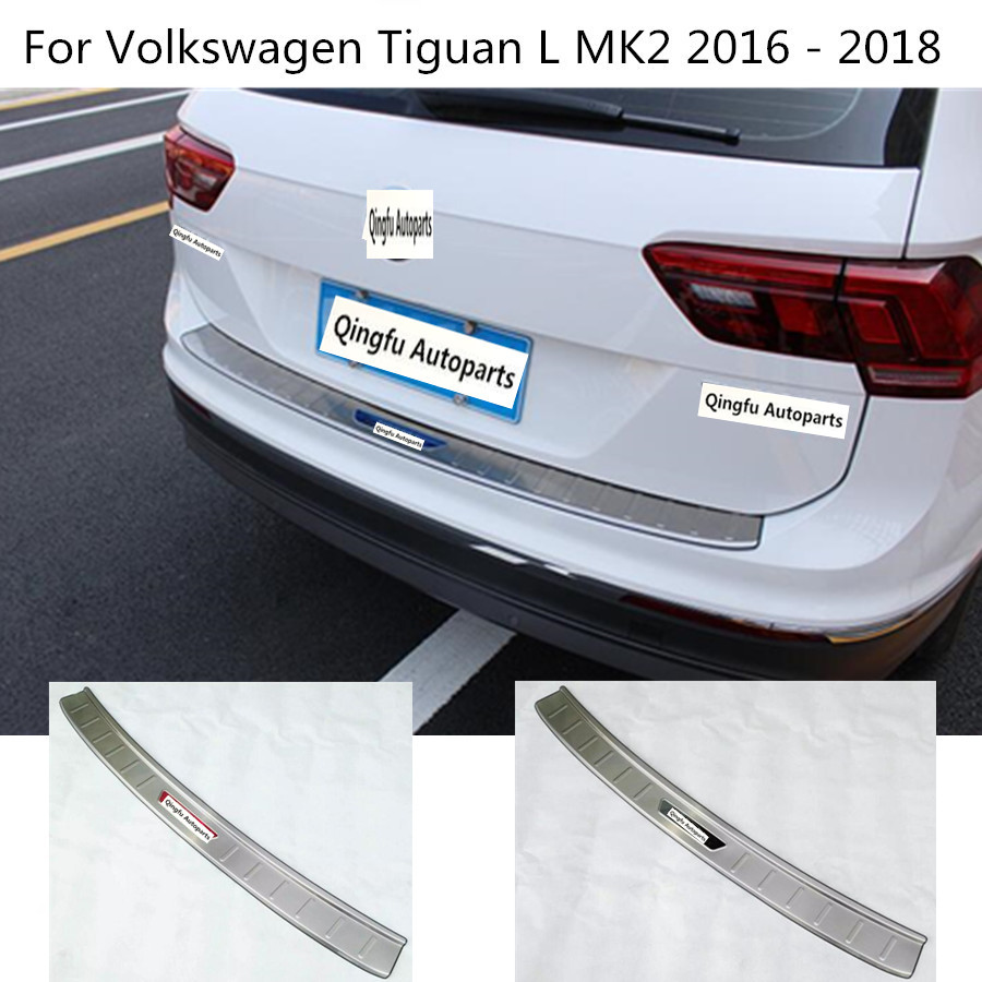 Car outside Rear Bumper trim Stainless Steel Scuff Sill trunk plate pedal for Volkswagen VW Tiguan L TiguanL MK2 2016 2017 2018 milardo amur amusb00m01