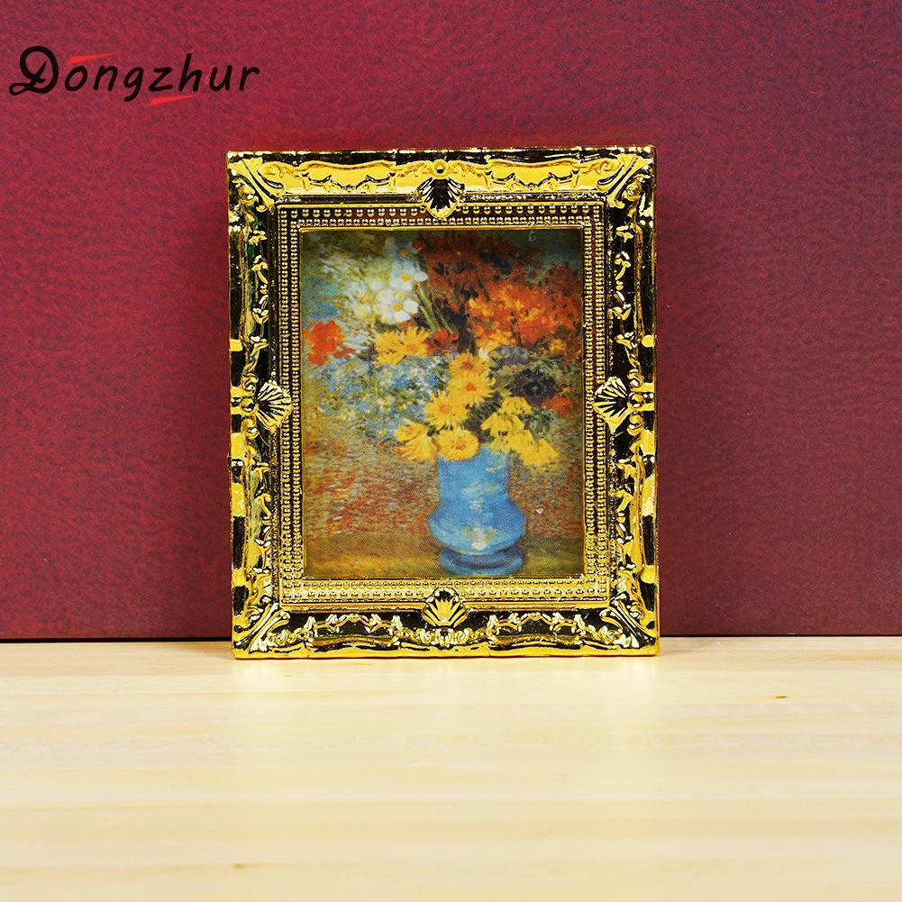 Dollhouse Miniature 1:12 Toy Frame Picture Tableau On Canvas Flower Vase E11