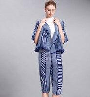 Miyake Модный Кардиган Куртка + свободные раза семь шаровары брюки для девочек осень костюм со складками Бесплатная доставка