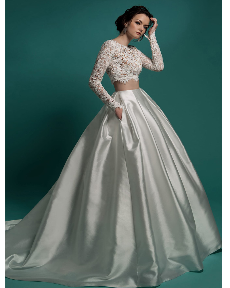 Two Pieces Wedding Dresses With Long Sleeves Bridal Lace Wedding     Two Pieces Wedding Dresses With Long Sleeves Bridal Lace Wedding Gowns  Floor Length Satin Wedding Dress Vestido de Novia in Wedding Dresses from  Weddings