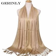 GERINLY Women Scarf Plain Fashion Print Glitter Tassel Cotton Lurex Plaid Stripe Shawls Scarves Long Muslim Hijab Scarf 14 Color