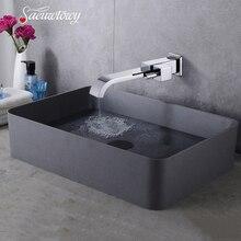 Ванная комната полностью медный Темный настенный одиночный холодный одно отверстие водопад кран над счетчиком раковина кран для мытья