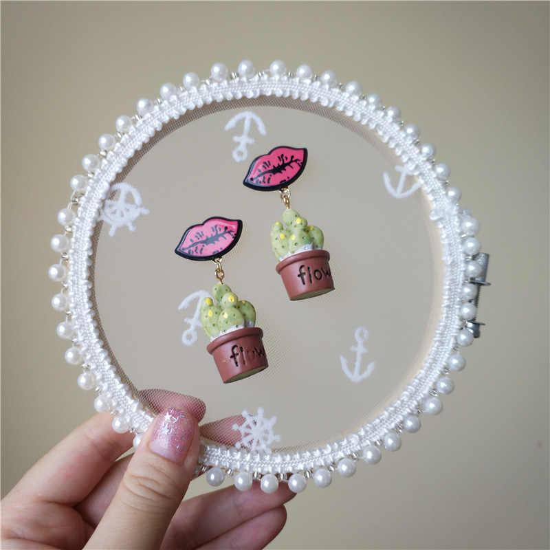 Korean Handmade Cactus Succulent plants Red Lips Woman Hanging Dangle Drop Earrings Fashion Jewelry Accessories-JQD5