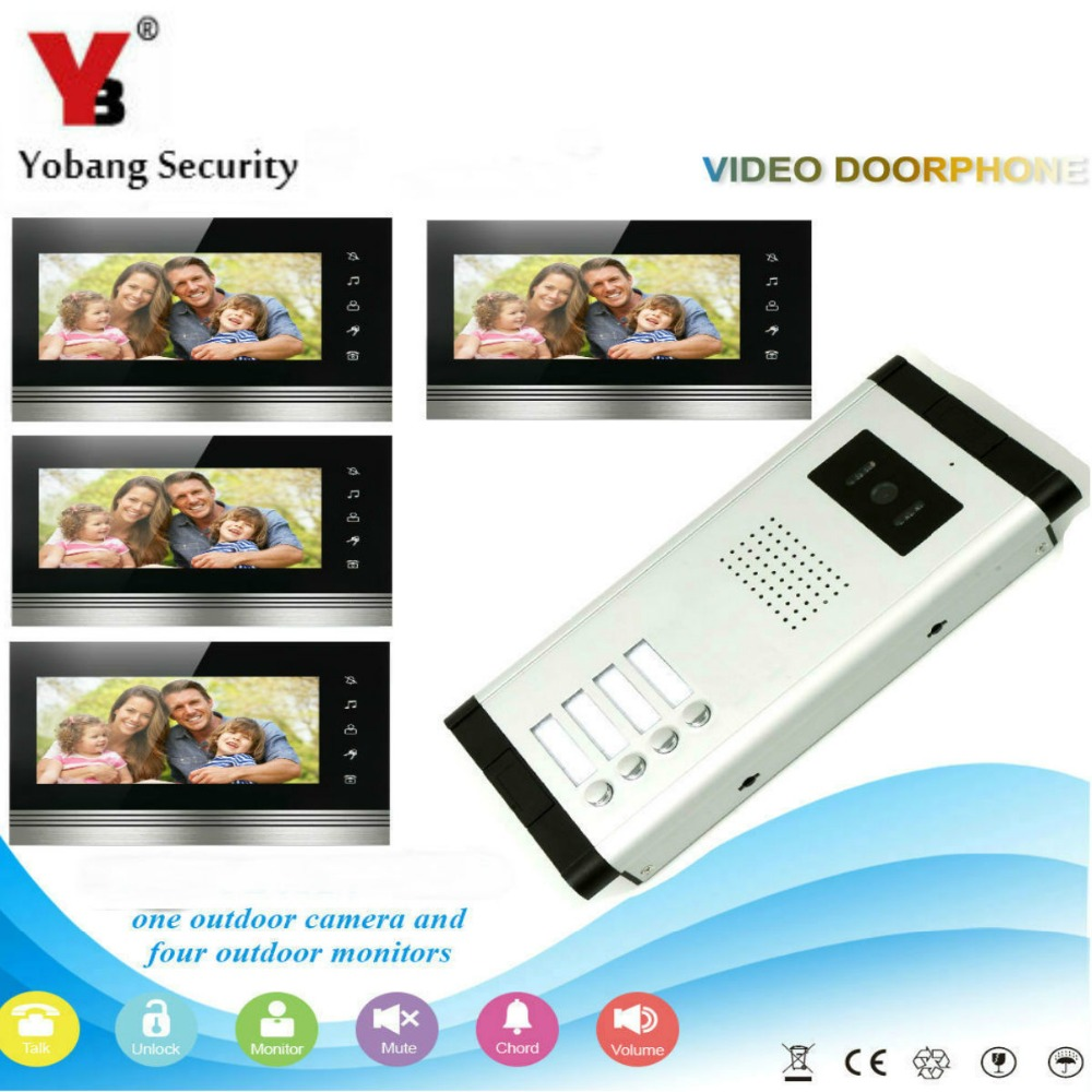 Yobang Security Home Video Intercom 7'Inch Monitor Video Doorbell Intercom Speakerphone Camera System For 4 Units Apartment yobang security free ship 7 video doorbell camera video intercom system rainproof video door camera home security tft monitor