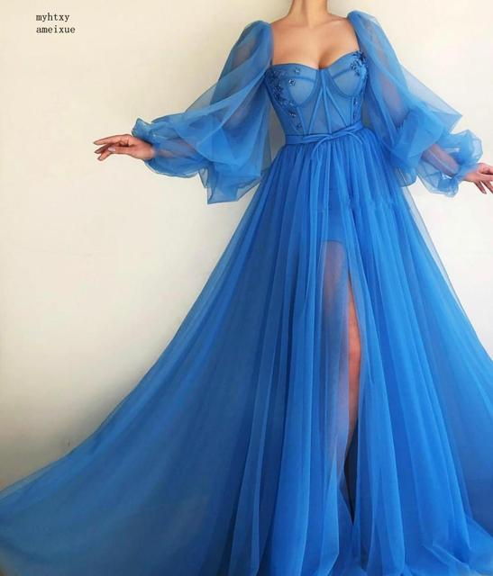 2020 Blue Dubai Evening Dresses Long Sexy Slit V-neck Beaded Tulle Formal Dress For Evening Party Robe Cheap Long Evening Gown