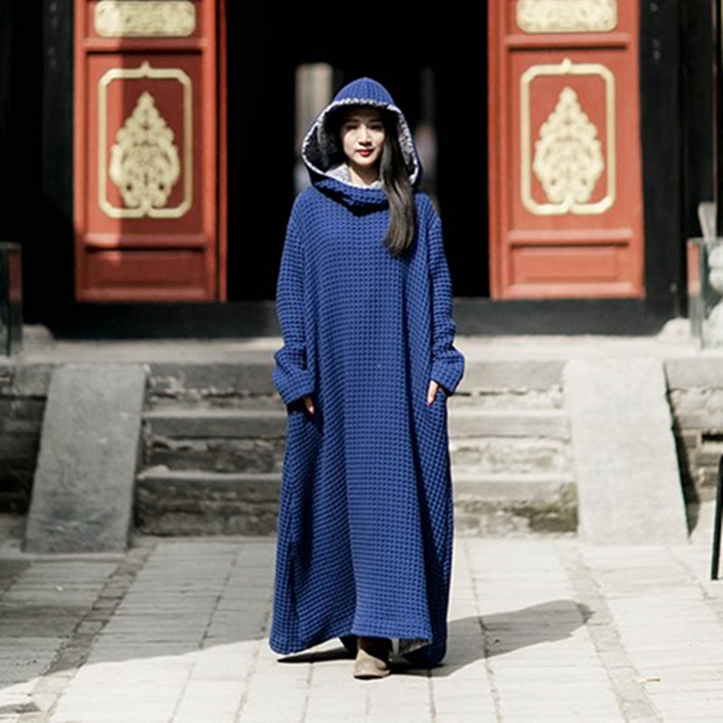 Free Shipping 2016 New Fashion Linen Long Maxi Dress With A Hood Women Thick Long-sleeve Loose Gown Dress One Piece Outerwear