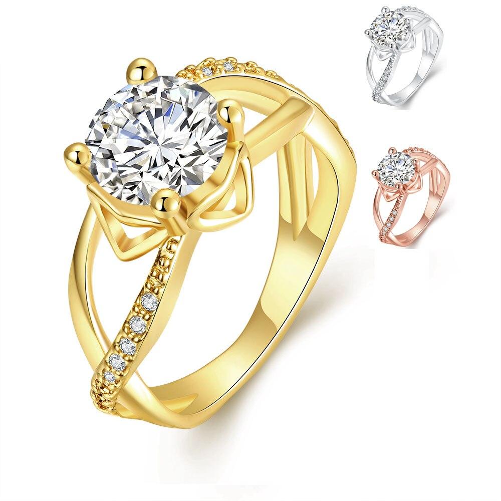 Beliebte Marke Big Cz Cubic Zirkon Stein Rose Gold Farbe Ringe Für Frauen Mode Schmuck Tag Geschenk Mode-ring Verlobungsringe