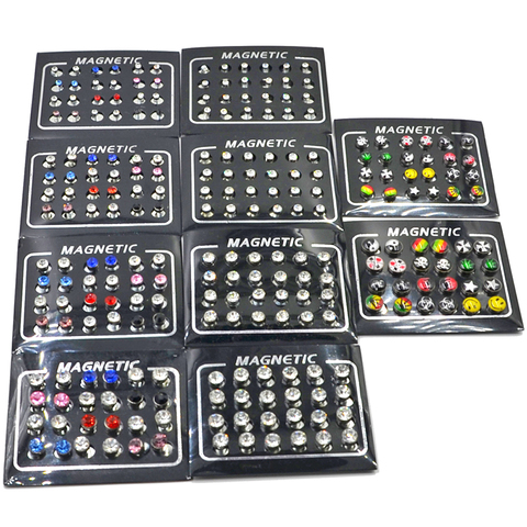 BOG- 24 pieces Magnetic Non-Piercing Clip Round Rhinestone Stud Earring Cheater Fake Ear Plugs For Boy Body Jewelry Lahore