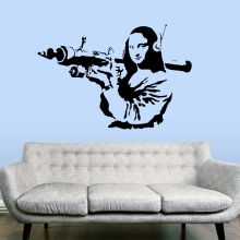 BANKSY Gioconda Terrorist WALL STICKER Home Decor Street Art Vinyl Decals Removable Mural House Decoration