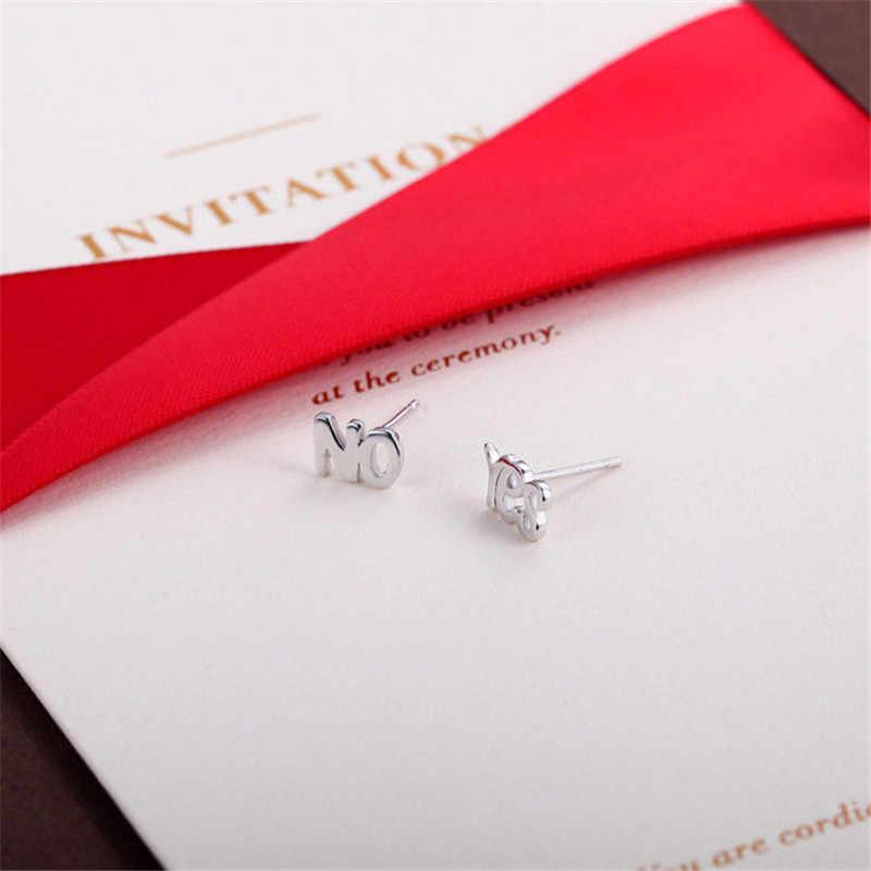 1 par 925 joyas de moda de plata de 2 quilates pendientes de plata sí NO letras