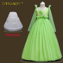 2018 Fashion Christmas Kids Dresses for Girls Flower Voile First Communion Pageant Dresses Children Girl Prom Evening Ball Gowns 2017 pink flower girl dresses for wedding puffy ball gowns first communion dresses for girls pageant dresses kids evening gowns