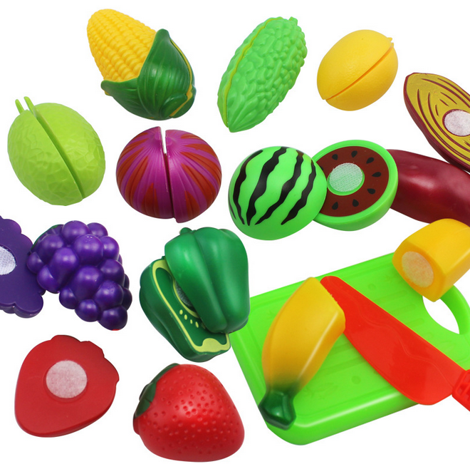 10 Pcs/ Set Plastic Fruit Vegetable Kitchen Cutting Toys Early Development and Education Toy for Baby Kids Children 007