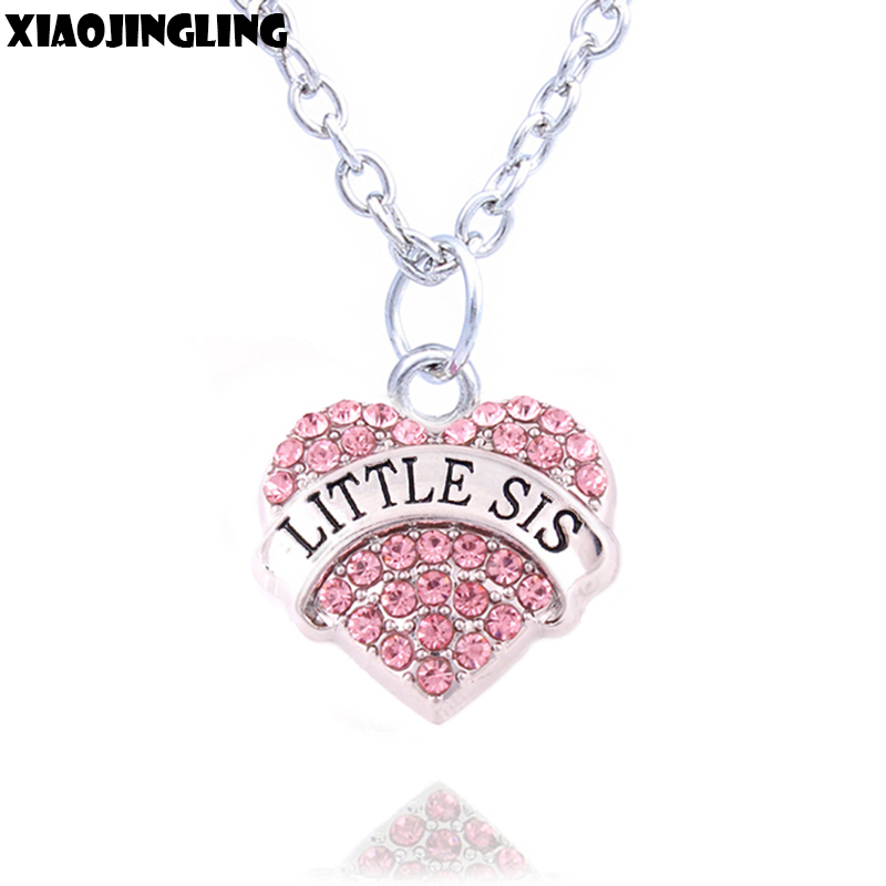 XIAOJINGLING Charm Women Girl Necklace Birthday Gifts Pink Crystal Heart Necklaces & Pendants LITTLE SIS Sister Gifts Accessory