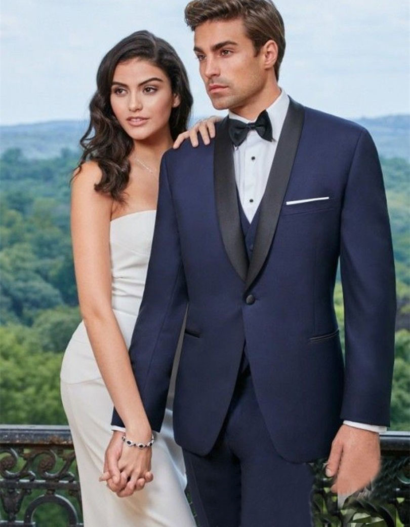 Design Blue Formal Wearing Customized Groom Wedding Tuxedos 3 Pieces Jacket Pants Vest WB054 men wedding