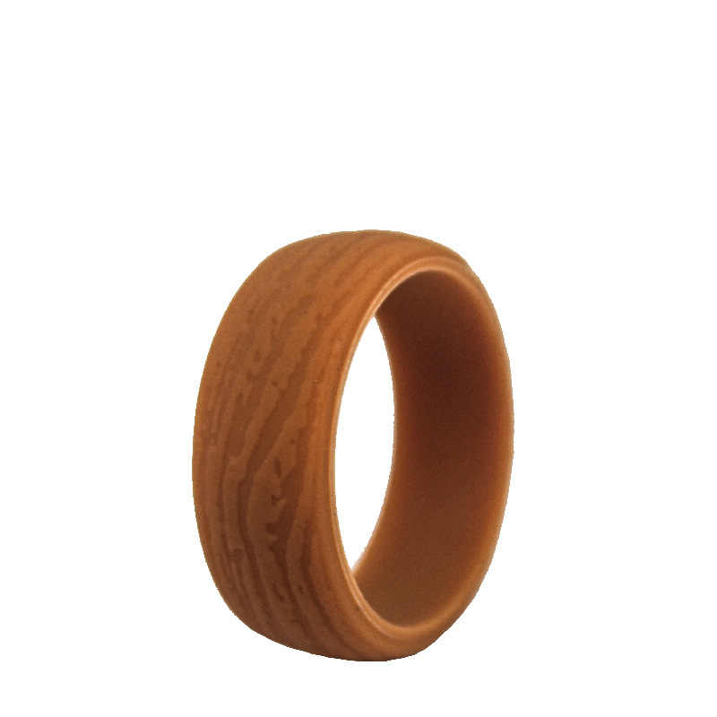 New Food Grade FDA Bark Grain Silicone Ring Crossfit Flexible Rubber Finger Rings Bands for Women Men Party Wedding Rings 8.7mm