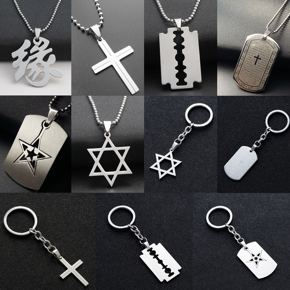 New stainless steel tag pendant necklace mens Fashion cross star blade prayer words necklaces&pendants car keychain jewelry gift