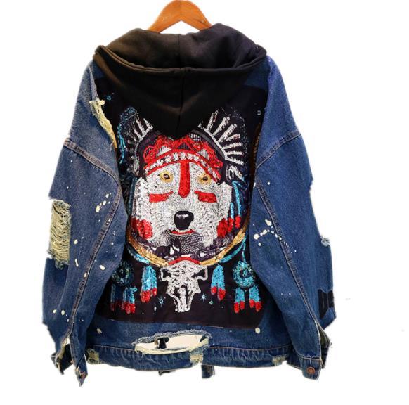 2018 Autumn New Heavy Duty Sequins Broken Holes Retro Burlap Jeans Coat Women Street Wear Hooded