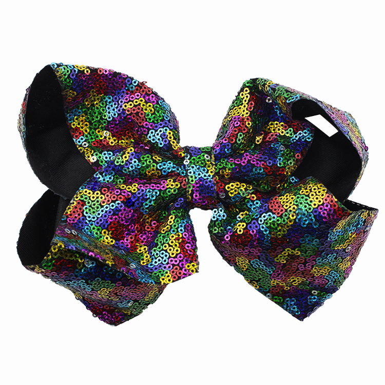8 inch Jumbo Sequin Rainbow Bow With Hair Clip For Girls Kids Handmade Boutique Knot Jumbo Hair Bow Hairgrips Hair Accessories (8)