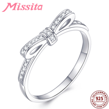 MISSITA 100% 925 Sterling Silver Romantic Bowknot Rings For Women  Clear Crystal Valentine Day Gift Wedding Brand Jewelry