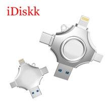 IDiskk флэш-накопитель USB OTG Все в 1 U диск для iPhone X/8/7/7 Plus /6/6s/5/SE/Android/Тип-C/Pc USB 3,0 High Скорость 32 ГБ 64 ГБ