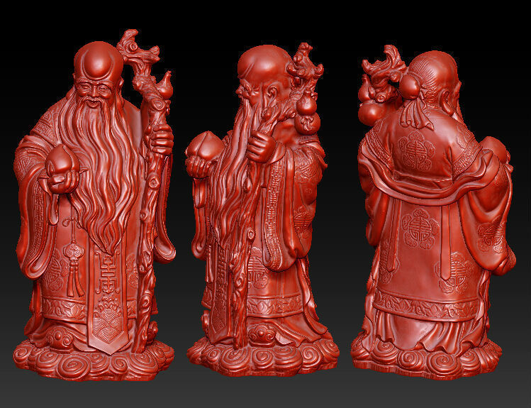 3D Model For Cnc 3D Carved Figure Sculpture Machine In STL File Format The Chinese Culture,The God Of Longevity
