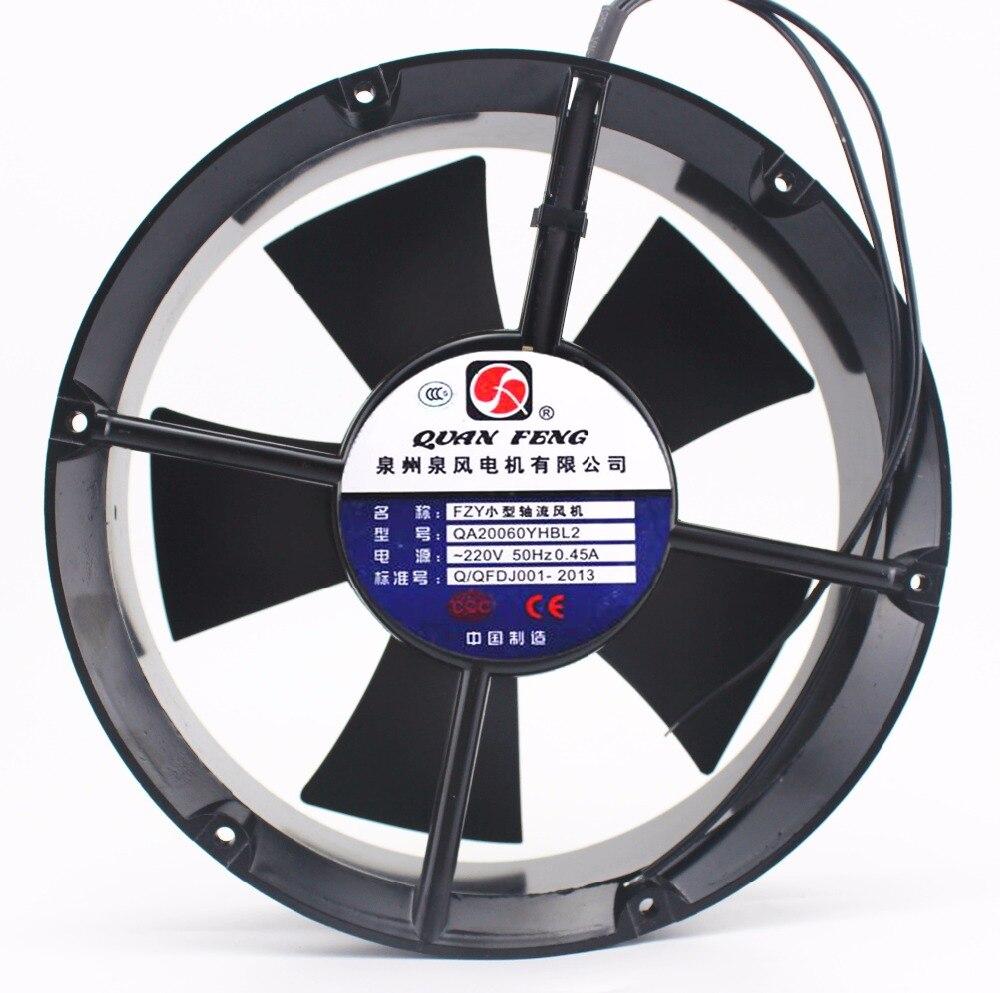 QA20060YHBL2 Small Axial Fan 220V 65W 0.45A Cooling Fan Blower 220v ac 65w 0 3a 200 210 71mm low noise cooling radiator axial centrifugal air fan blower 200fzy2 d axial flow cooling fan