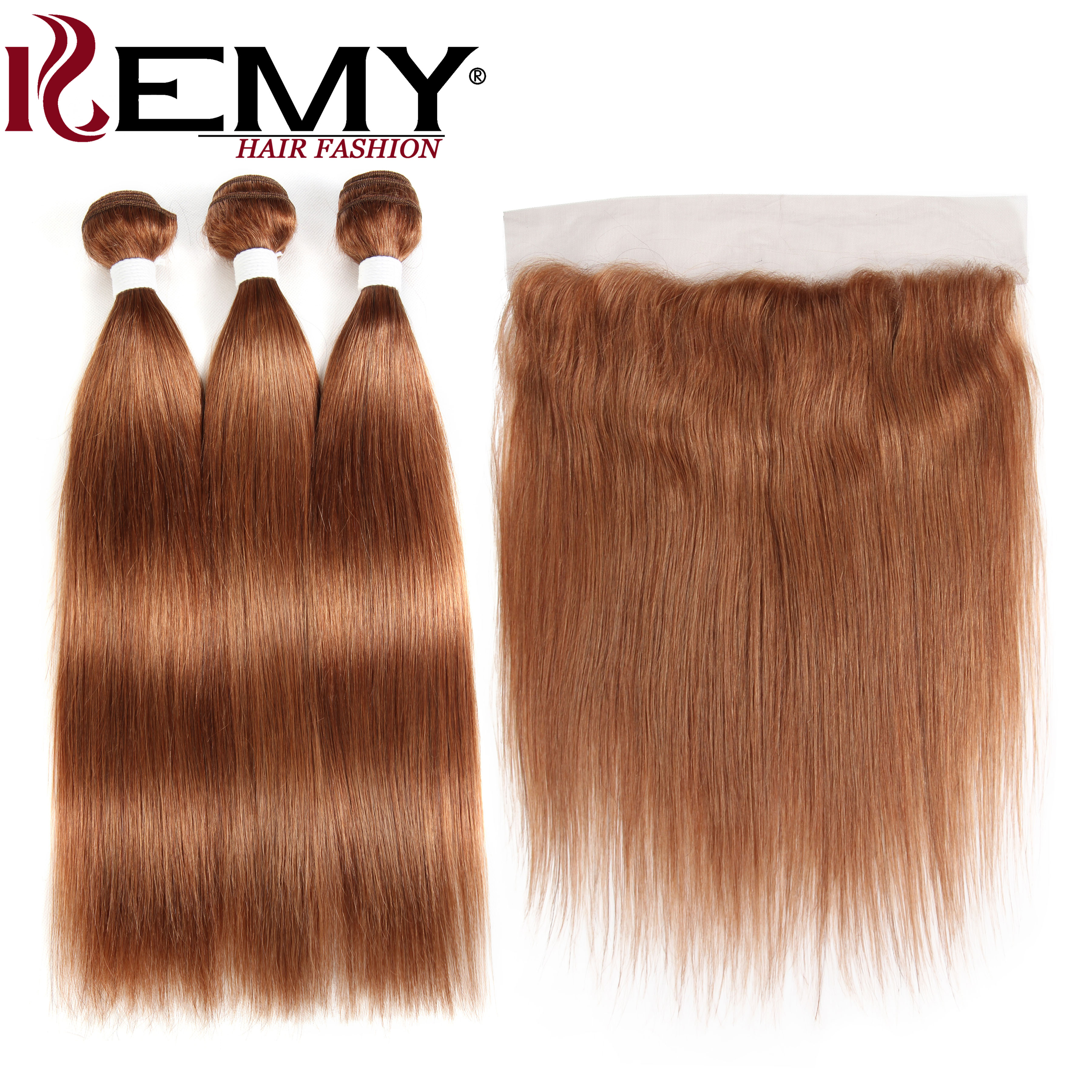 Brazilian Straight Human Hair Bundles With Frontal 4*13 KEMY HAIR Pre-Colored Brown Hair Weaves Bundles With Closure Non-Remy
