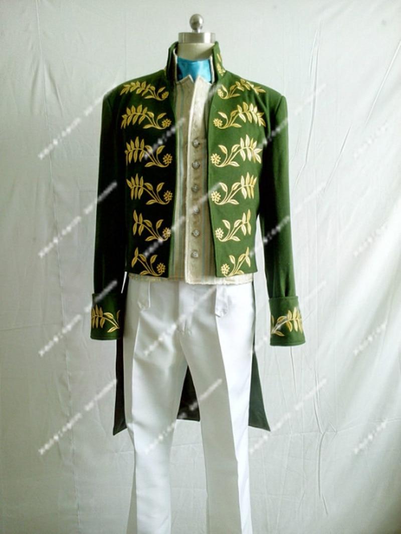 Men/Kid's Movie Cinderella Prince Charming Green Costume Richard Court Party Dancing Cosplay-Full set