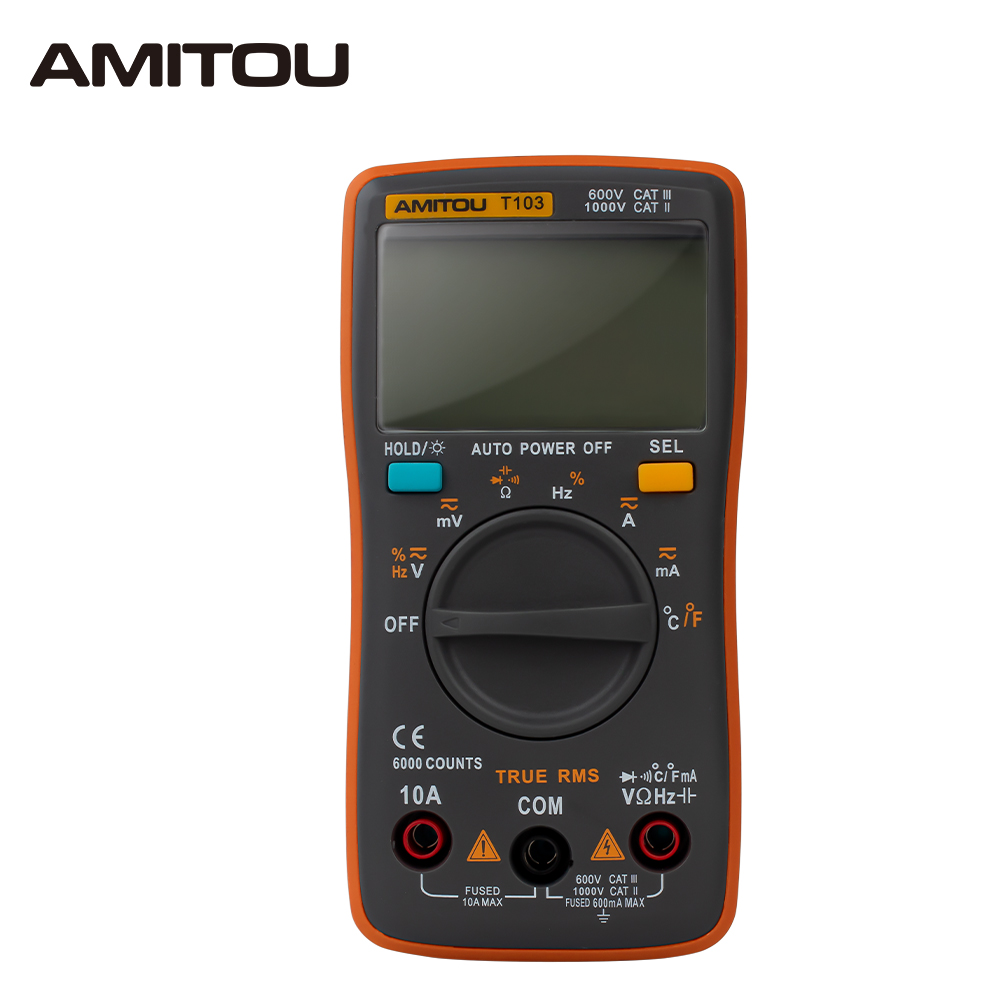 T103 Multimeter AC/DC Ammeter Voltmeter Auto Multimetro Temperature Duty Cycle Ohm Frequency Diode Resistance Capacitance Tester