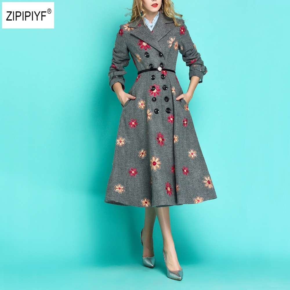 Elegant Design Autumn and Winter 2018 new arrival flower embroidered overcoat Double Breasted long vintage wool