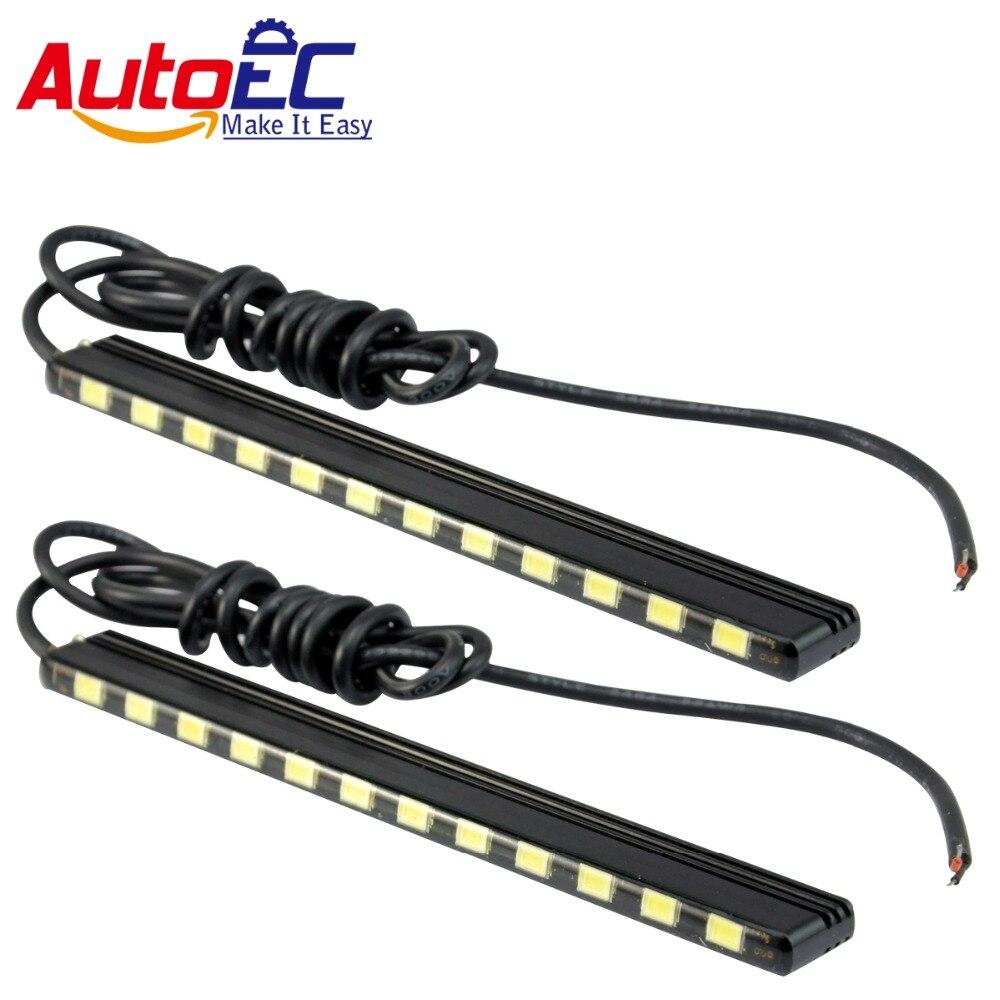 Autoec Led Daytime Running Light Drl 15 18 21 24 Smd 5630 Leds 25 Cm Lampu Panjang Universal 9 Titik Super Terang Siang Hari Kabut Cahaya Jalur 7000 K Untuk Auto Mobil Lm150