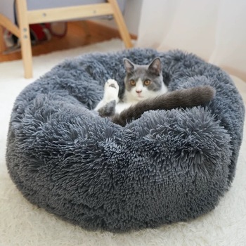 Long Plush Super Soft Pet Bed Kennel Dog Round Cat Winter Warm Sleeping Bag Puppy Cushion Mat Portable Cat Supplies 46/50/60cm 5