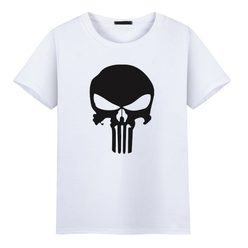 2017 fashion fresh tshirt for Cool Style The Punisher Skull Hip Hop Tee Shirts O-Neck Printed Pattern Short Sleeve T-shirts