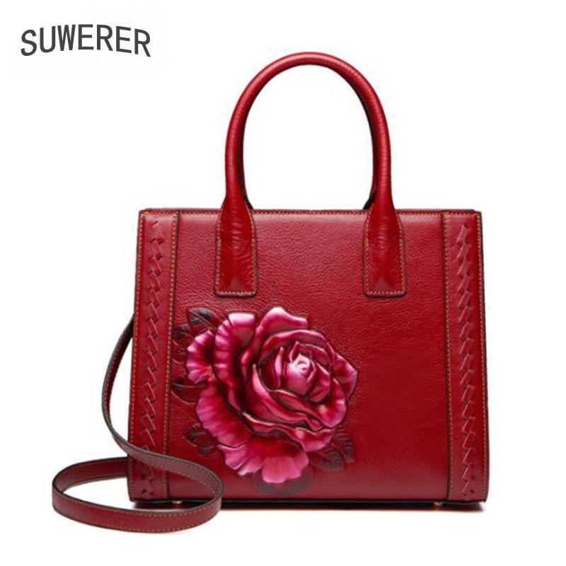 Handtasche Umhängetasche Echtes Luxus Mode Geprägte Handtaschen Leder red Schulter Frauen Neue Black 2018 FwUwpfq