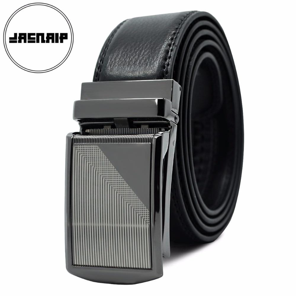 JACNAIP Mens ratchet click belt genuine leather dress belt for men jeans holeless automatic sliding buckle black belts