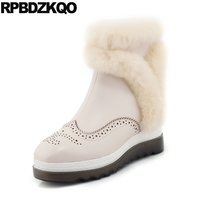 Height Increased Real Fur Beige Genuine Leather Winter Snow Boots Women Ankle Brogue Platform Luxury Furry