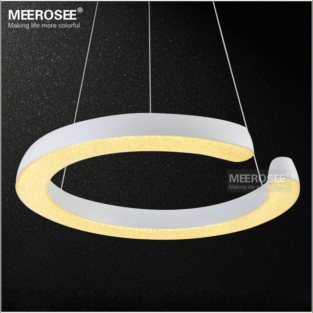 Led Ring Light Fixture Acrylic Pendant Modern Lighting White Re Suspension Drop Lamp