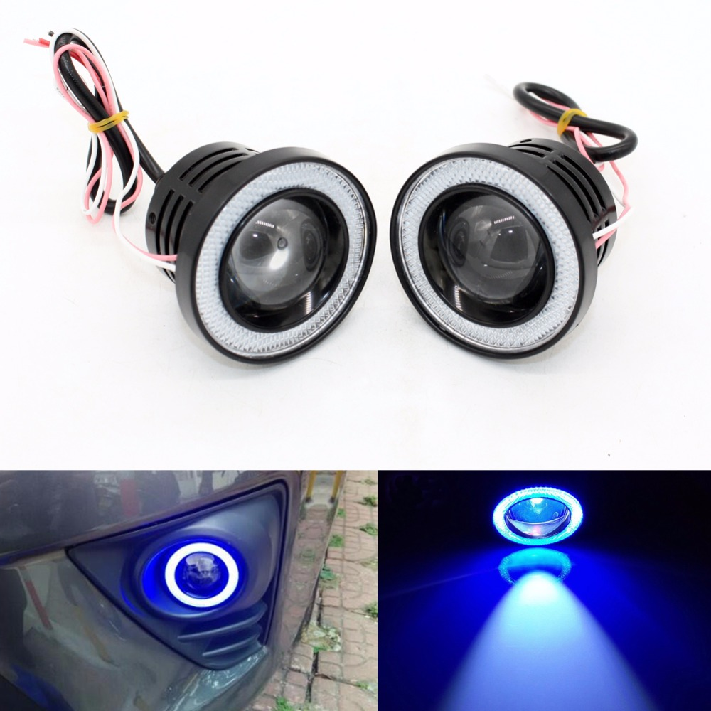 3 inch 76mm Car Universal COB LED Angel Eyes Light 1200LM Fog Lamp W/ Lens Auto DRL Driving Light Daytime Running Lights Blue brand new universal 40 w 6 inch 12 v led car work light daytime running lights combo light off road 4 x 4 truck light