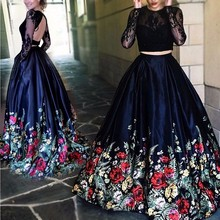 Trendy Zwei Stücke Black Lace Print prom dresses Long Sleeves abendkleider Sheer Illusion Falten Geraffte Lange Pageant Abendkleider