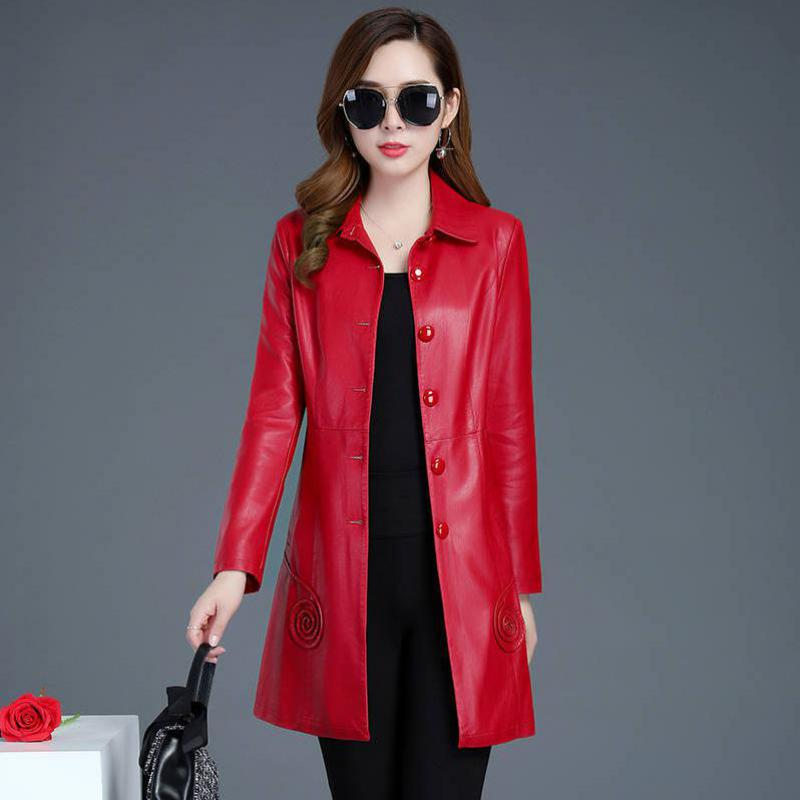6XL Red autumn long PU   leather   jacket jacket 2019 Korean fashion single-breasted spring bomberka damska veste femme Plus size