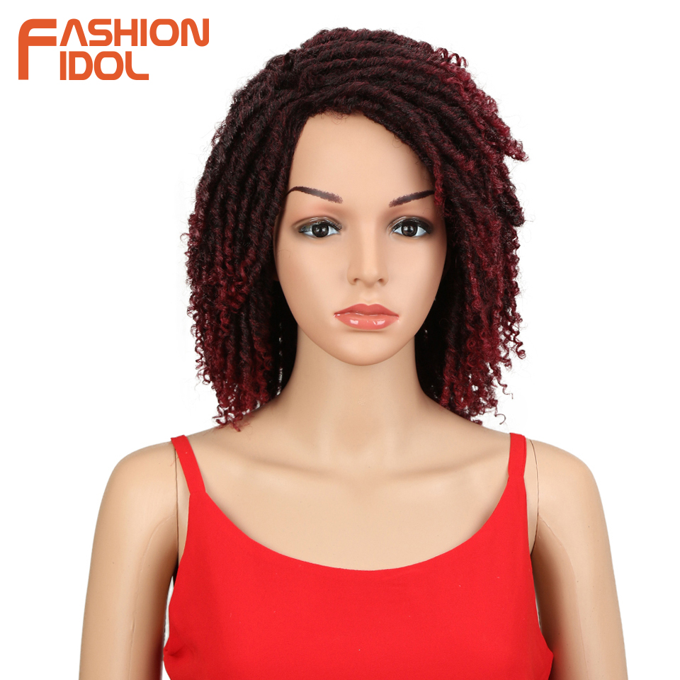FASHION IDOL Soft Short Synthetic Wigs For Black Women 14 inch High Temperature Fiber Dreadlock Ombre Burg Crochet Twist Hair 网 红 小 姐姐